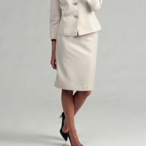 Vintage 100% Wool Ivory/Cream Suit Midi Skirt